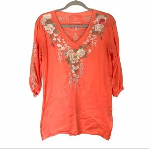 Johnny Was Coral Embroidered Tunic Size Small